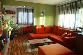 Red with green: Wall Colors, Decor Ideas, Red Couches, Red Sofa, Sage Green Wall, Living Rooms Design, Wood Floors, Living Rooms Colors, Sofas