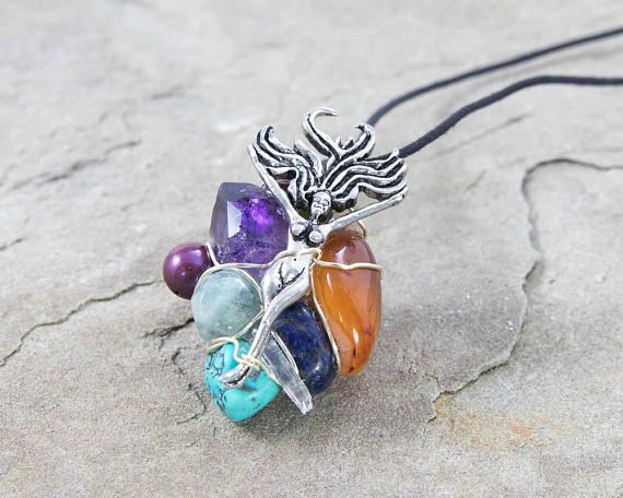 Wild Woman Amulet Wire Wrapped Pendant Healing Jewelry