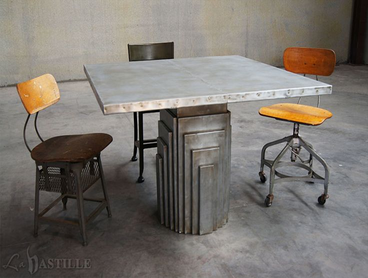 Zinc Table: Sitting Atop A Beautiful Industrial Art Deco Sheet Zinc Wrapped  Base Is A Classic Sheet Zinc Table Top.