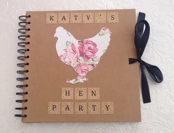 Personalised Hen Party Scrapbook ideal for a keepsake for the Bride to Be. Each scrapbook has approx. 39 pages of plain card where photos and