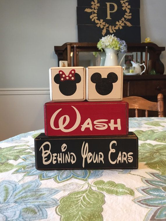 Mickey Mouse Minnie Mouse Bathroom Decor Kids Bath Wash Behind Your Ears,  Wash Your Hands Stacking Wood Sign Blocks Distressed Disney Bath