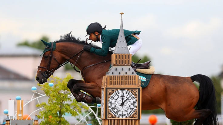 Kamal Bahamdan of Saudi Arabia riding Noblesse Des Tess competes in the second qualifier of Individual Jumping on Day 9 of the London 2012 Olympic Games at Greenwich Park