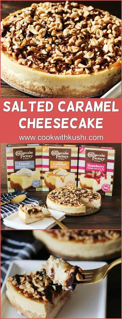 Salted Caramel Cheesecake is a delicious and super easy dessert to put together this holiday season thanks to The Cheesecake Factory At Home's new boxed cheesecake mixes.  #CheesecakeFactoryAtHome #MyCheesecake #AD #Cheesecake Mix #CheesecakeMadeEasy #bake #baking #dessert #thanksgiving  #christmas #holiday #feedfeed #buzfeedfood #cake #dinner