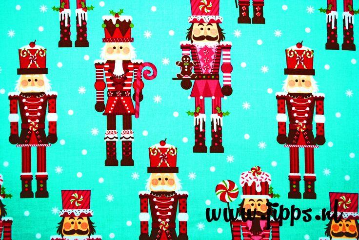 Kerststof van Michael Miller - Nutcrackers. Verkrijgbaar via www.jipps.nl