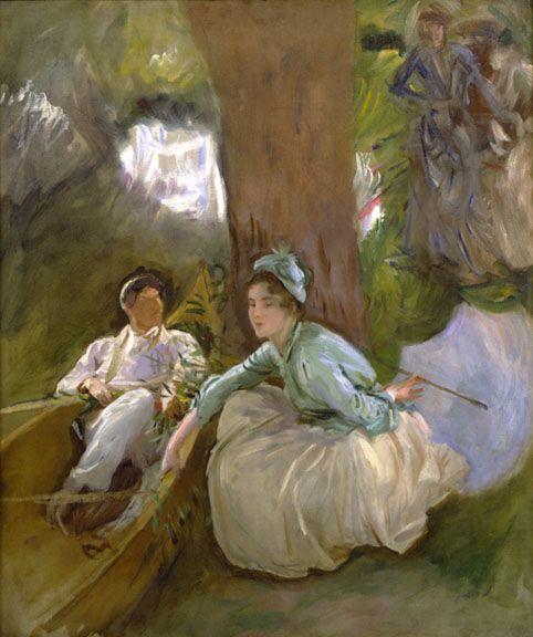 J. Singer Sargent, Στο ποτάμι. 1888. Ιδιωτική Συλλογή. Ένας υπέροχος ιμπρεσιονιστικός πίνακας. Τα χαρακτηριστικά της γυναίκας διακρίνονται πιο καθαρά. Το τοπίο και οι φιγούρες πίσω από το ζευγάρι σκιαγραφούνται με καθαρά ιμπρεσιονιστικές πινελιές.