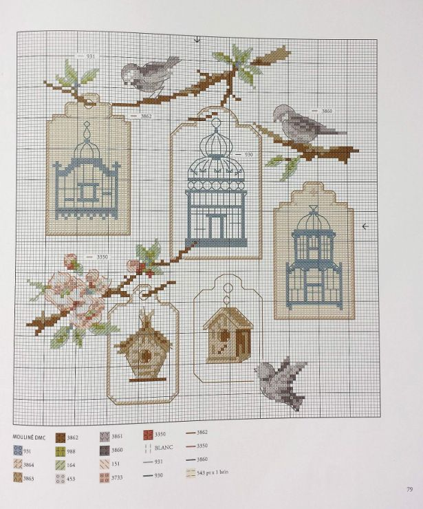 VERONIQUE ENGINGER ''Les plus belles collections au point de croix'' birds and cages