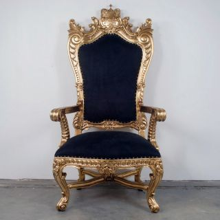 high back chair old kings throne | King ' S Throne Chair Gold Leafed Mahogany W/ Black Suede Seat New ...