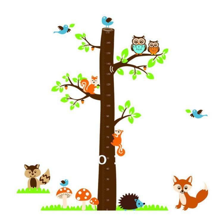 spedizione gratuita giungla foresta animale gufo scoiattolo bambini vivaio parete decalcomania autoadesivo della parete arte adesivi decalcomanie in vinile a casa ay221
