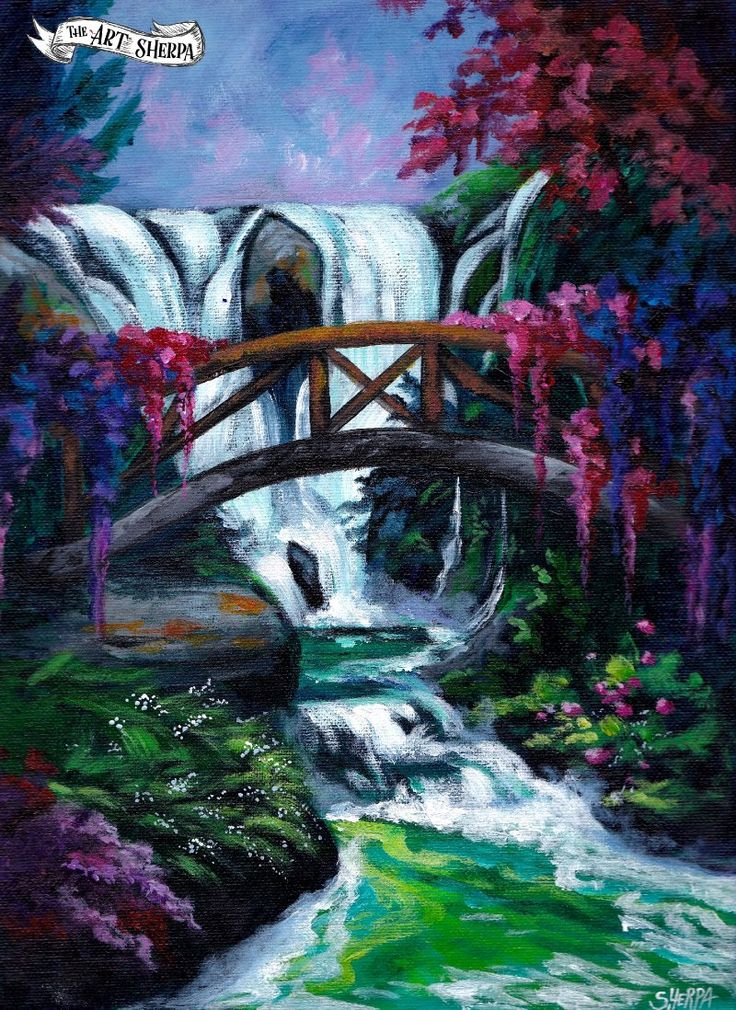 Waterfall Garden Easy Acrylic Painting Tutorial For ...