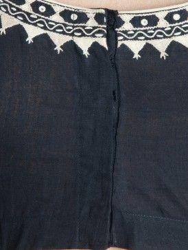 Black-Ivory Embroidered Kalamkari Printed Cotton Blouse by Svasa