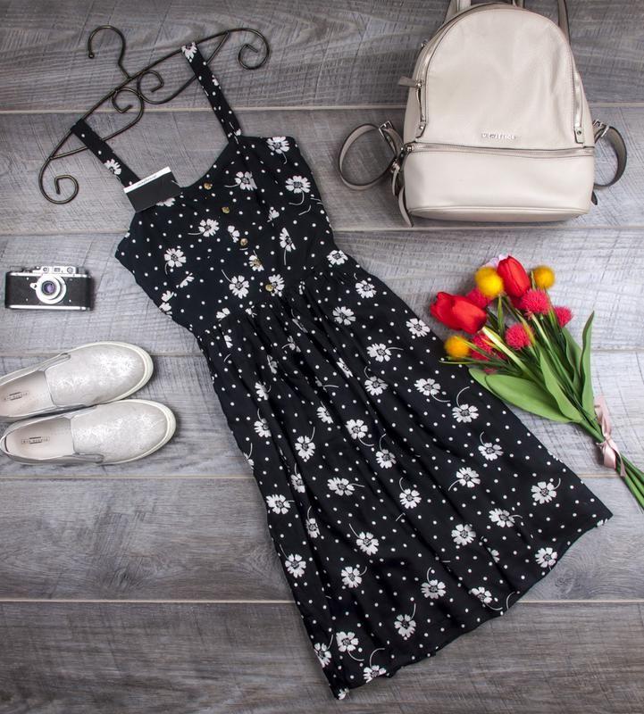 Цена: 195 грн. - Платье сарафан вискозное в цветочек от atmosphere размер uk 12 наш р. 46 Atmosphere, #6307029, Цвета: Чёрный, Размер: 40 / 12 / L. Купить в Шафе недорого