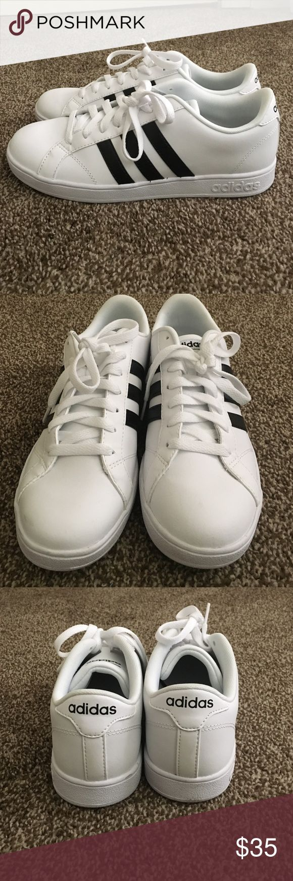 Adidas neo Shoes A white Adidas sneaker with the original black stripes and a cloudfoam footbed! Has only been wore once. Adidas Shoes Sneakers