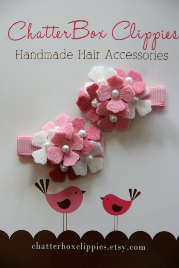 Hydrangea Hair Clips in Pink and White for Baby Toddler and Girls Felt Flower Hair Clips