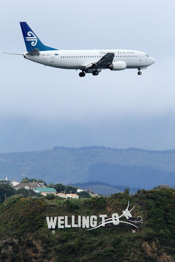 Landing in Wellington, Capital of New Zealand ... been there! The pilots are really skilled. There is almost a cross wind. The landing is started on one side of the airport and the plane literally gets blown onto the runway.