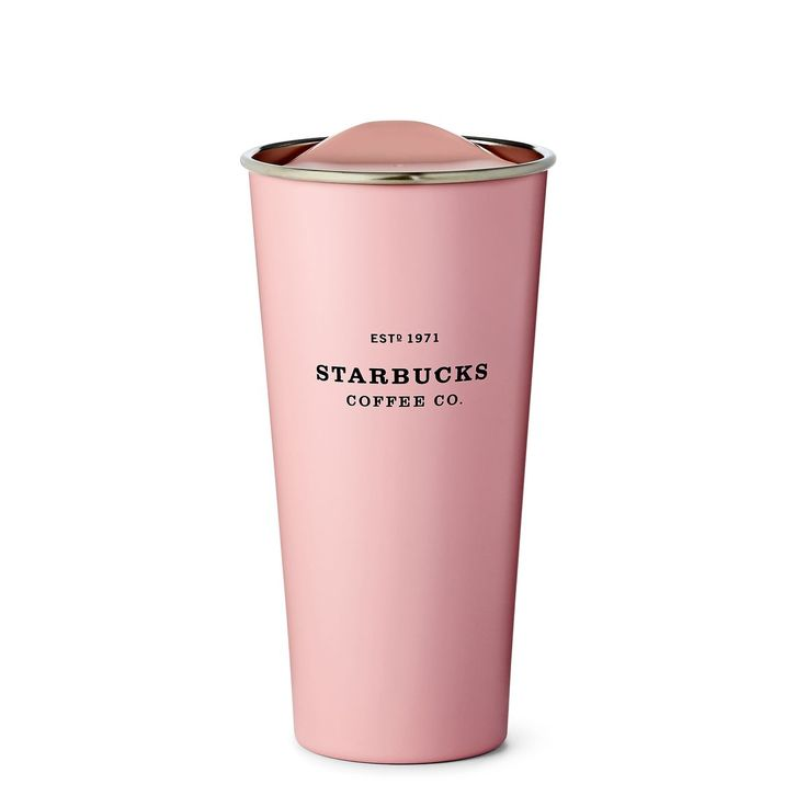 A travel-ready stainless steel coffee tumbler in a playful pink colour.