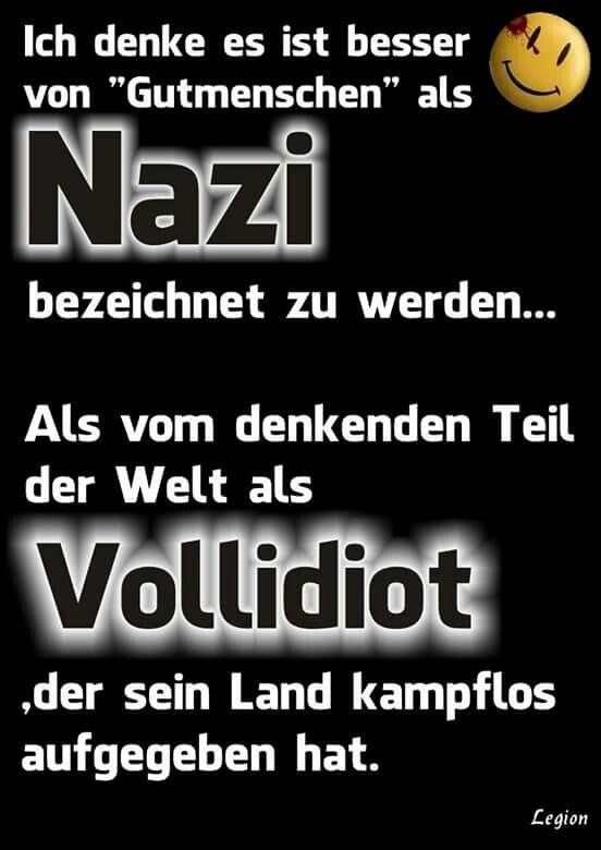 Ich denke es ist besser von Gutmenschen als Nazi bezeichnet zu werden, als vom denkenden Teil der Welt als Vollidiot, der sein Land kampflos aufgegeben hat.