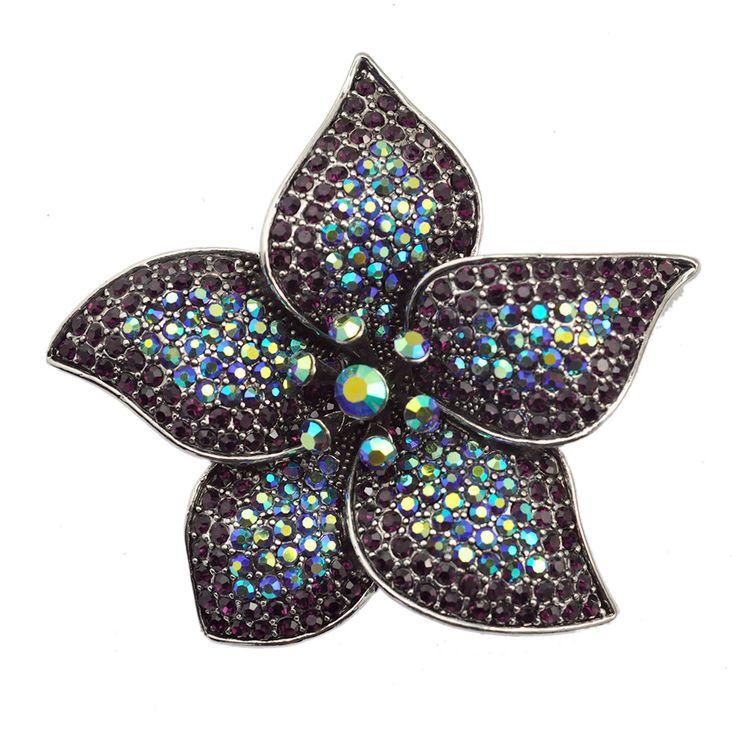 Lucky Five Leaves Flower Brooch Pin Purple Crystal Rhinestone Women Fashion Jewelry Accessory For Overcoat
