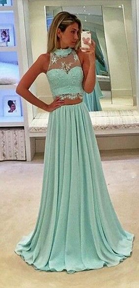 Fashion Long Two Piece Halter Neckline Green Prom Dress