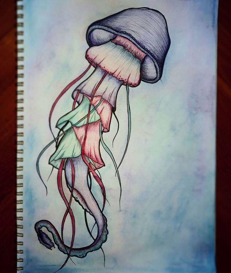 Jellyfish 🌊  #jellyfish #sea #nature #animal #underwater  #art #artsy #artist #artofinstagram #draw #drawing #pencil #pastel #stabilo #staedtler #sketchbook #mystaedtler #young_artists_help #blue #pink #purple   #meduza #rajz #magyar_rajzok