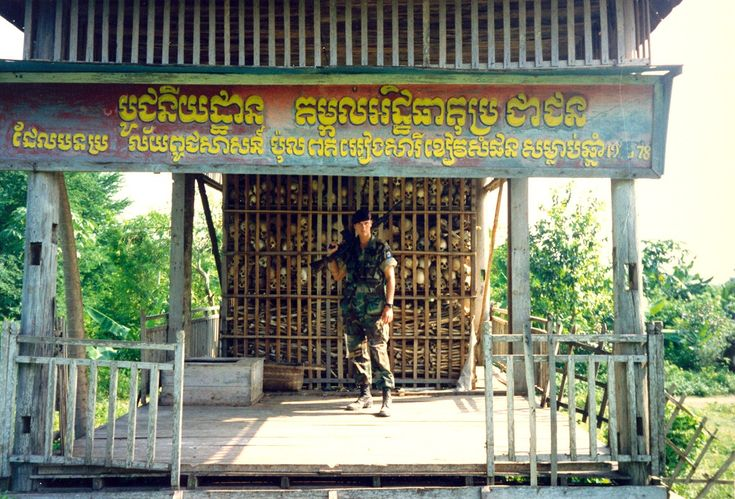 Dutch Marines, Deployment Cambodia 1993. Sisophon, killing fields memorial