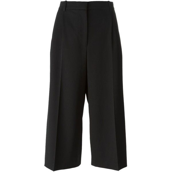 Alexander McQueen high waisted culottes (€935) ❤ liked on Polyvore featuring pants, capris, bottoms, black, black highwaisted shorts, black shorts, crop shorts, black culottes and black high waisted shorts
