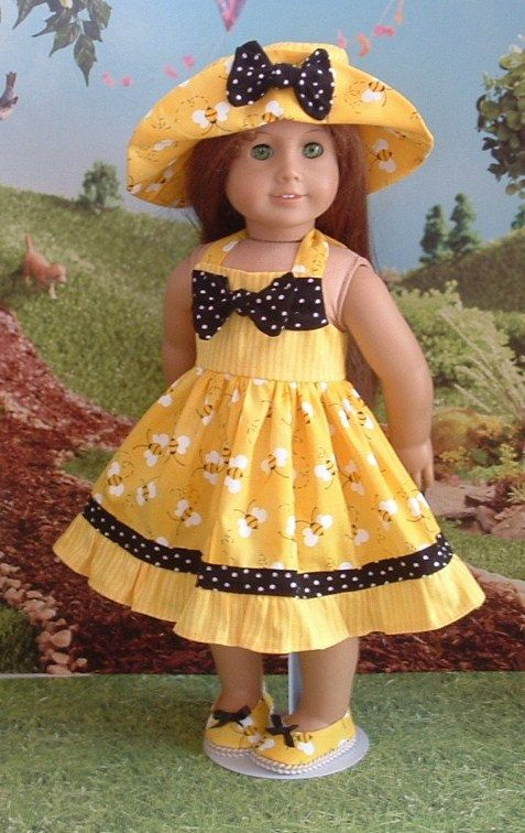 Sweet little Bee Happy Sundress, hat and shoes for your American girl doll, or similar 18 inch dolls. This dress is made from a quilters quality cotton in three different prints. The dress ties at the back of the neck, and closes in the back bodice with velcro. The matching hat and shoes are included. Doll is not included. All my apparel is made in my smoke free home.