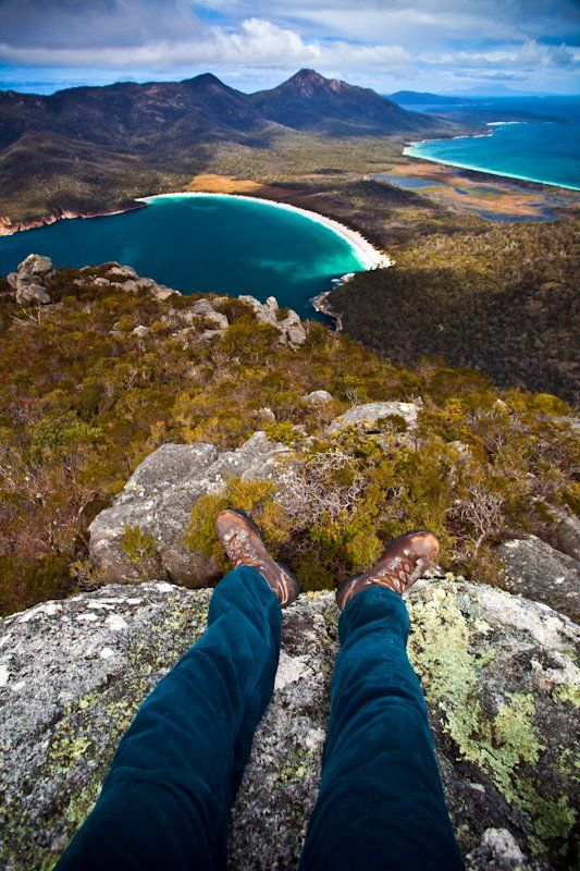 My view of Wineglass bay after hiking to the top of Mt. Amos http://matadornetwork.com/community/scottsporleder/photos/tasmania-part-ii-the-eastern-coast/308432_10150329047133450_266724958449_8269314_858875449_n/