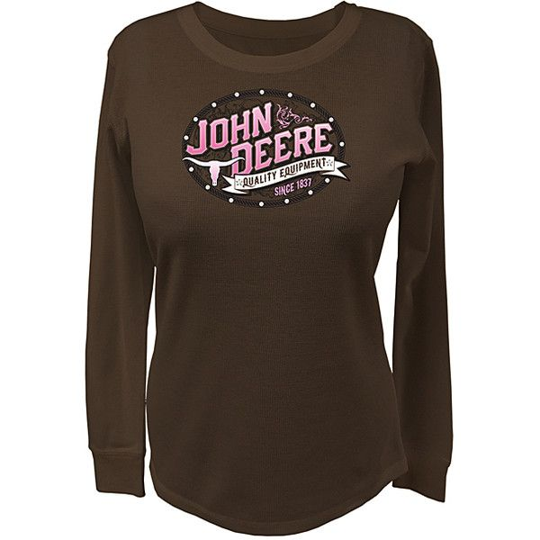 John Deere Brown 'John Deere' Tee ($25) ❤ liked on Polyvore featuring tops, t-shirts, brown t shirt, graphic design t shirts, cotton t shirt, john deere and john deere t shirts