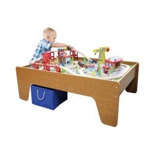 Wooden-Train-Table-Kids-Activity-Wood-100-piece-Engine-Railway-City-Play-Thomas