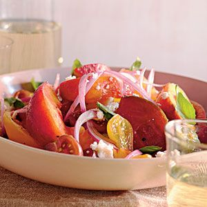 Summer Peach and Tomato Salad | MyRecipes.com got 5 stars on My recipes - sounds YUMMY