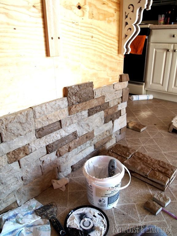 Adding stone veneer to breakfast bar (or ANYTHING!) using AirStone... super simple! {Sawdust and Embryos}