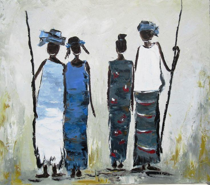 Rencontres africaines 1 : huile sur toile : 70/80 cm