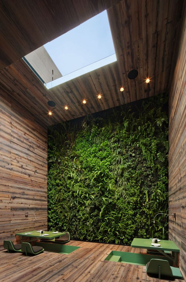 This whole room is awesome. A living wall, a sun roof with natural light, and a sunken table with awesome design and color scheme, cool color and texture on walls also.