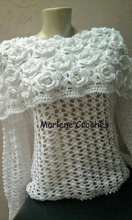 Crochet patterns: Awesome Flower Cape Style Blouse - Free Crochet Ch...
