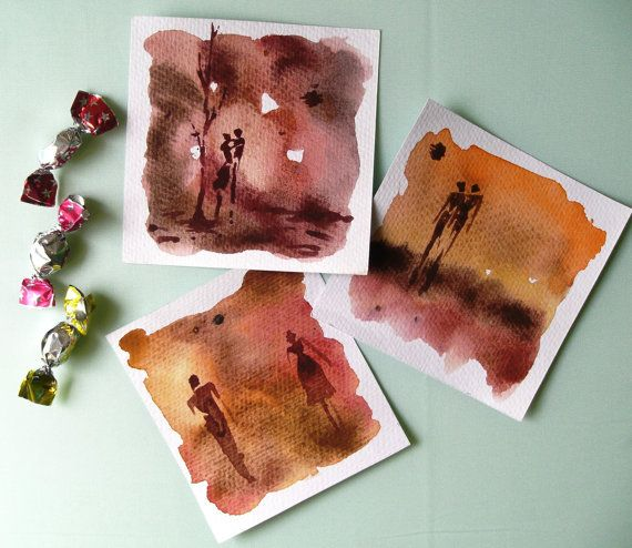 SunSet Love, Original, set of thee, one of a kind mini watercolour paintings, couples, holding hands, together,sunset, brown, sepia, orange.