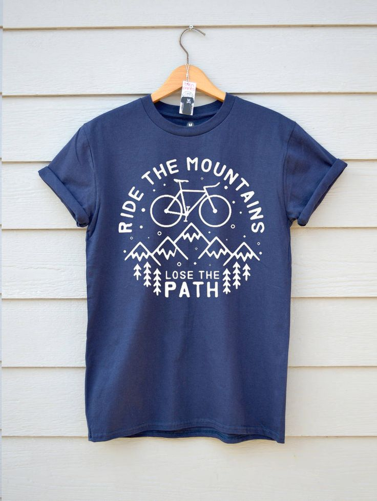 Ride The Mountains Bike T-shirt, Premium Bike Tee Available in 7 colours,  In sizes S,M,L And XL