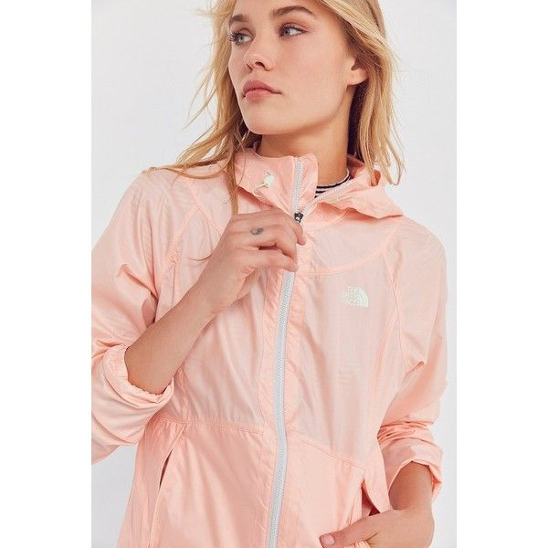 The North Face Flyweight Hoodie Windbreaker Jacket ($80) ❤ liked on Polyvore featuring activewear, activewear jackets, pink sportswear and the north face