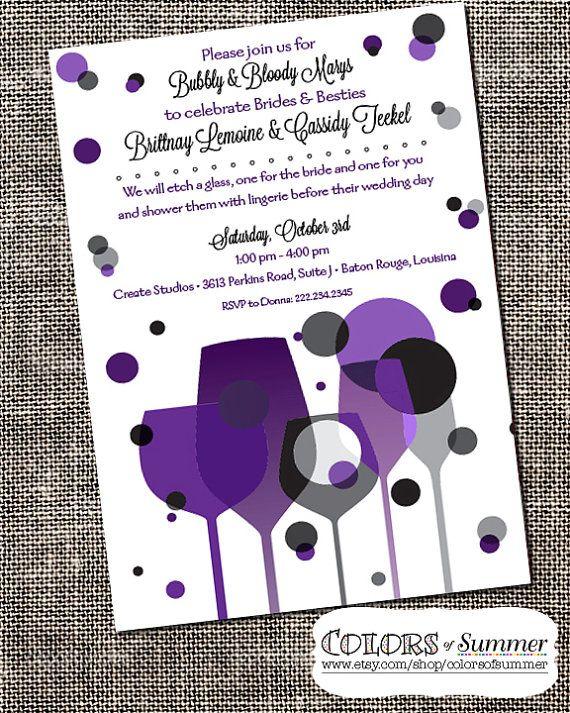 Bridal shower brunch paint wine party invitation for Wine paint party