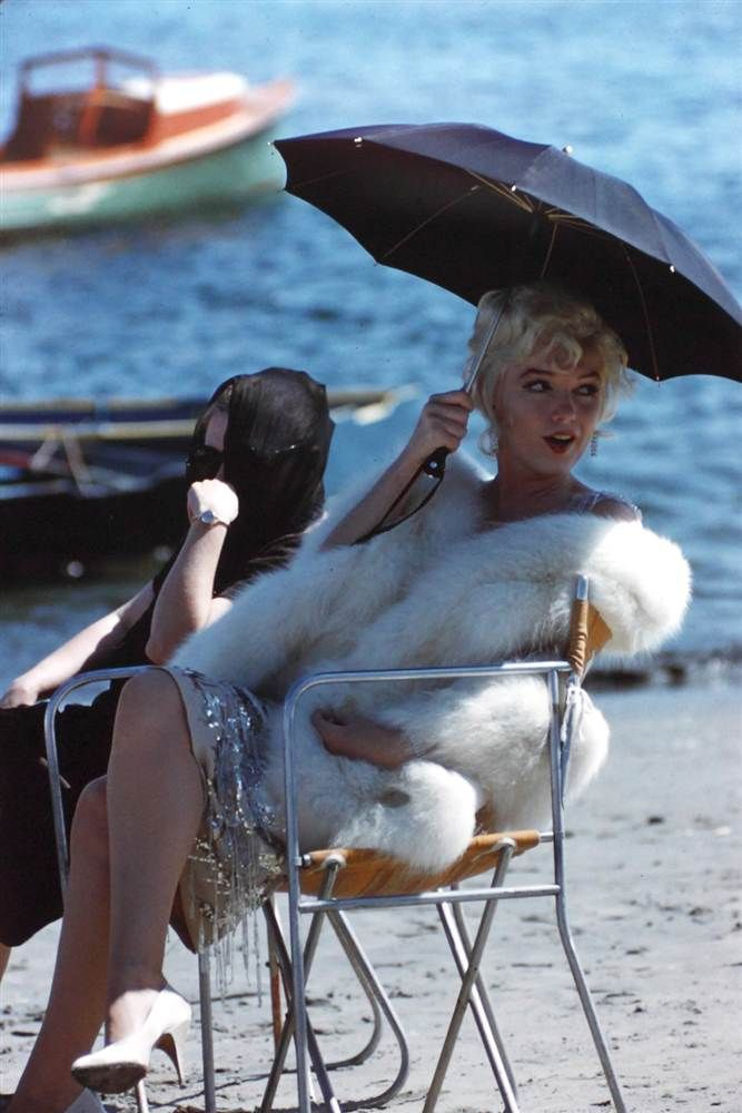 "Marilyn on the set of the 1959 comedy ""Some Like It Hot"""