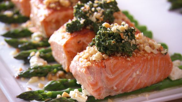 MKR4 Recipe - Salmon with Salsa Verde and Asparagus - this looked so good on the show - I will be cooking this very soon for sure.. Yum!