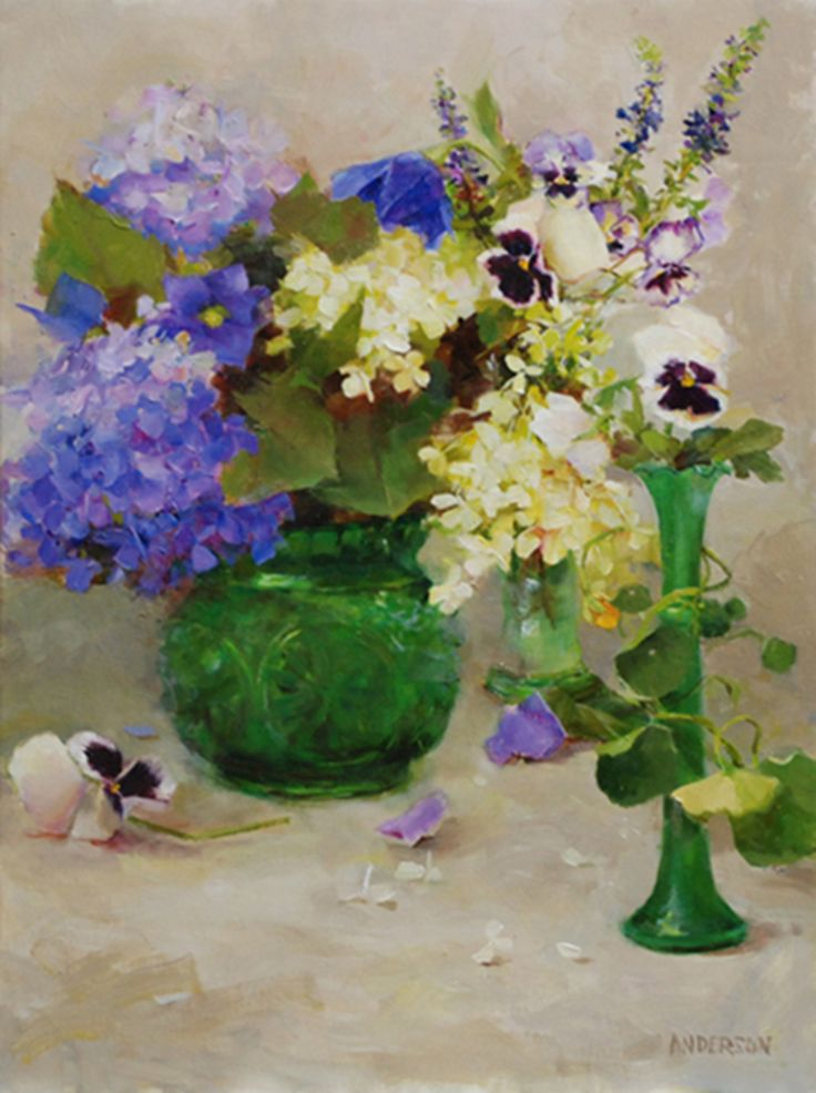 Artist Kathy Anderson is based in Connecticut, where she has a lovely garden. Her love of nature shows in her beautiful impressionist paintings of flowers and plants.