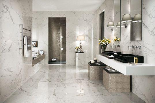 Плитка под белый мрамор для ванной