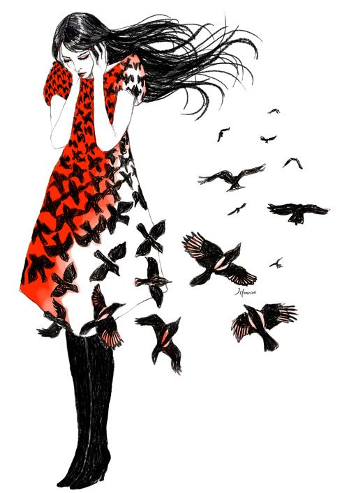 """As the crow flies, inspired by Alexander McQueen collection AW2009-2010.  The artist: """"Un petit dessin un brin mélancolique inspiré par le très chouette imprimé pied de poule/corbeaux du défilé automne/hiver 2009/2010 d'Alexander McQueen""""."""