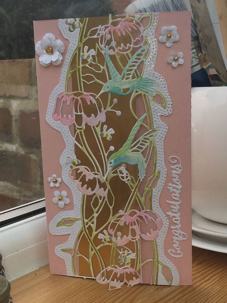 My first engagement card using tattered lace love is in the air humming bird and bees die by Eira Ballingall