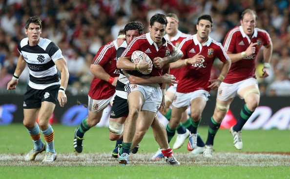 Sean Maitland of the Lions charges upfield during the match between the British & Irish Lions and the Barbarians at Hong Kong Stadium on June 1, 2013,  Hong Kong.