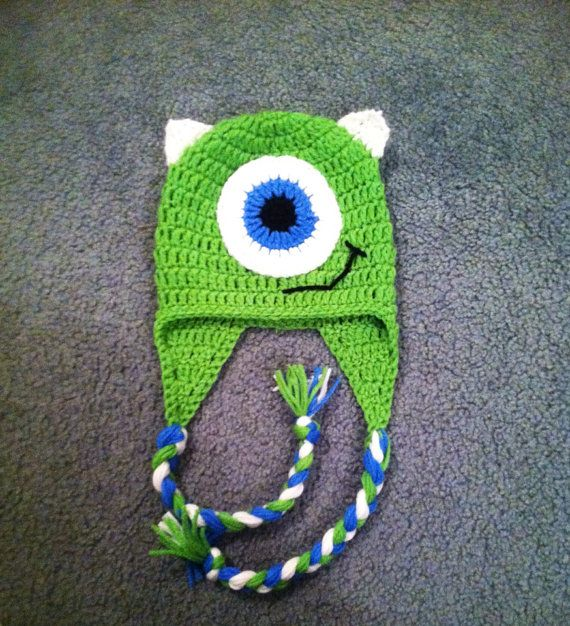 mike wazowski crochet beanie by schiersknits on Etsy