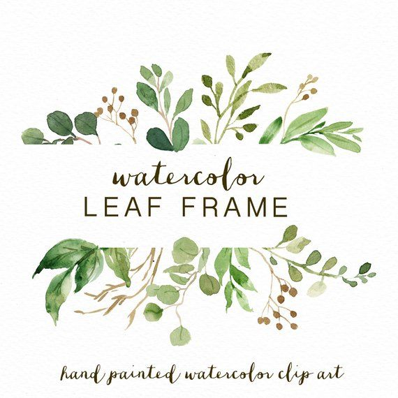 Watercolor Leaf Frame Leaves Wedding Invitation Small Set Clipart