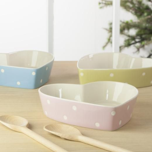 Gisela Graham Polka Dot Heart Oven Dish - £12.00 - A great range of Cooking And Baking gifts and homewares from The Contemporary Home Online Shop