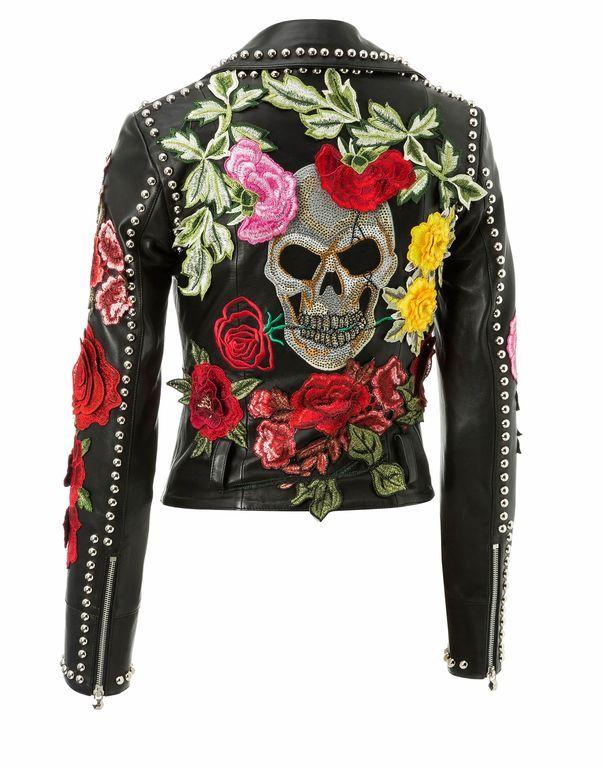 Retro Look. Recycled OOAK Biker Jean Jacket Boho Jeans Upcycled Denim Jacket with Lace Skull