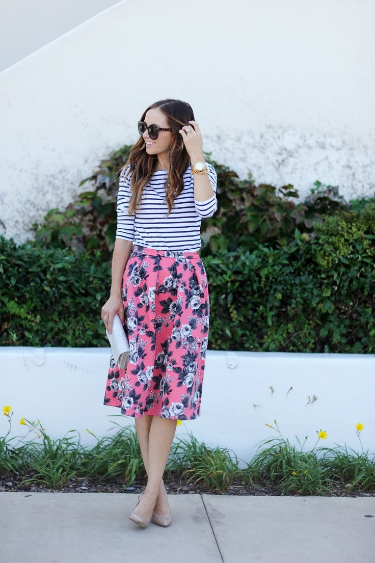 Floral midi skirt + striped top. Loving this pattern-play spring style.